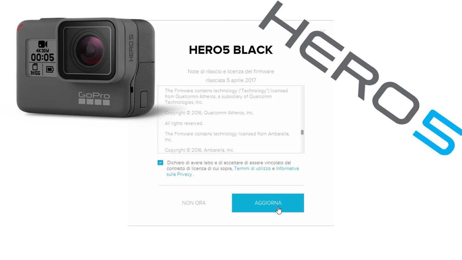 come aggiornare la gopro hero5 asvideo
